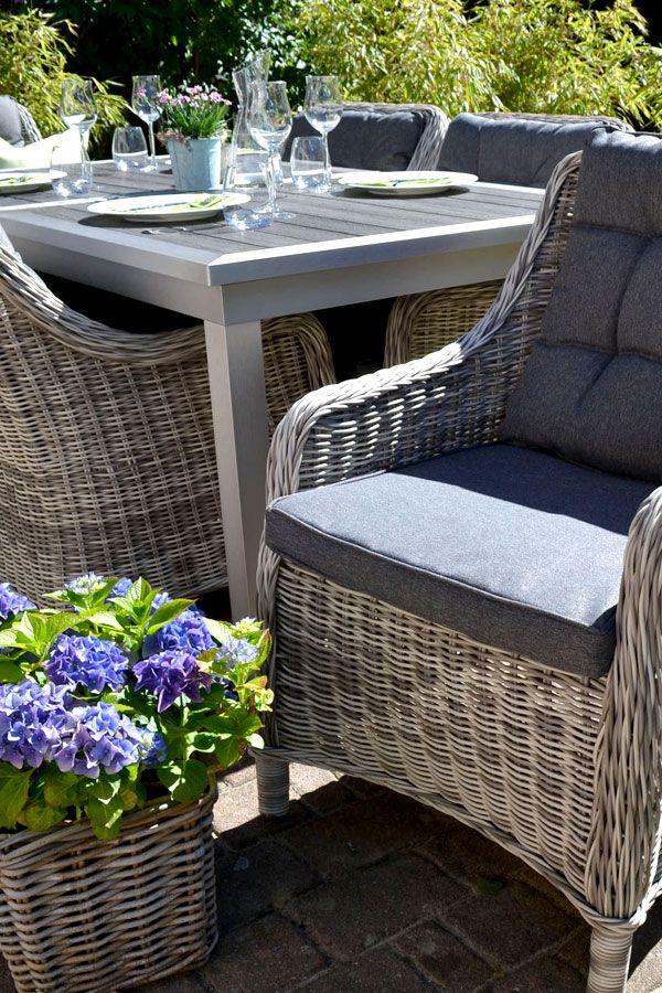 Garnitur Stockholm Im Edelstahllook Tisch Verlangerbar 180 260x100cm 8 Sessel Grau Polster Grau Rattan Gartenstuhle Gartenmobel Gartentisch Grau