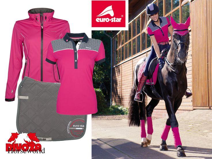 Eurostar mode voor paard en ruiter, voorjaar 2016. Eurostar fashio for horse and rider, spring 2016. #eurostar #mode #fashion #horse #paard #rider #ruiter #paardrijden #divoza #divozahorseworld #grijs #grey #rose #pink
