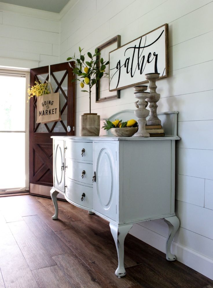CottonStem.com farmhouse decor entry way vintage buffet lemon tree
