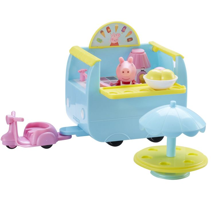 Peppa Pig Ice Cream Van Playset With Accessories. Free-wheeling wheels!. Includes articulated Holiday Peppa figure. Includes; tricycle, table with sun shade & A-board accessories. Lots of removable ice creams for Peppa & her friends!. Scaled for play with other Little Character toys.