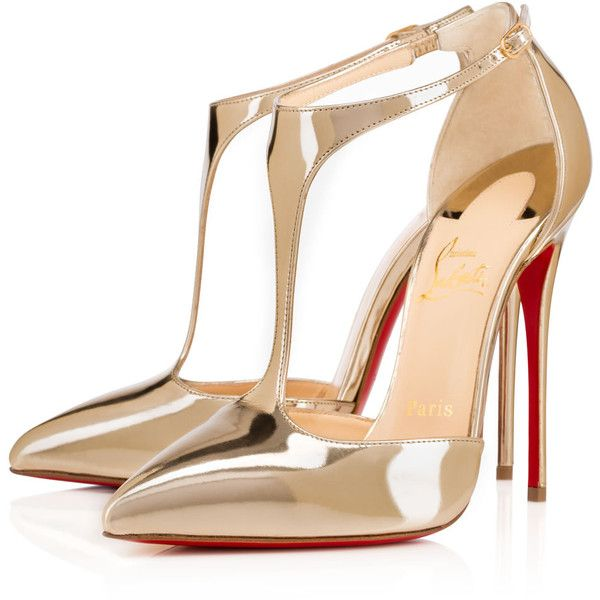 Christian Louboutin J String (€905) ❤ liked on Polyvore featuring shoes, pumps, heels, louboutin, sapatos, light gold, sexy high heel pumps, pointed toe high heel pumps, christian louboutin shoes et sexy pumps