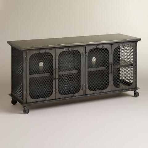 """LIVING ROOM - World Market Metal Bexley Media Stand, $630 Overall: 62.6""""W x 20.5""""D x 30.9""""H, 138 lbs. 100 lbs. capacity Holds up to a 27"""" CRT or 45"""" LCD plasma TV Shelves: 59.1""""W x 15.6""""D x 12.1""""H each"""