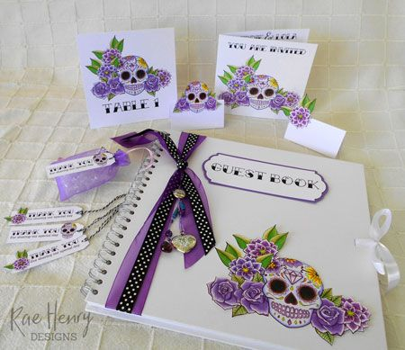 purple sugar skull wedding stationary from Rae Henry Designs. Create a sugar skull/ day of the dead/ tattoo themed wedding with this personalised handmade stationary range