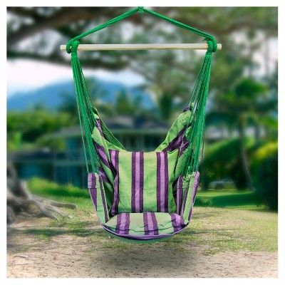 Sorbus Hanging Rope Hammock Chair Swing Seat For Any Indoor Or Outdoor Spaces, Green