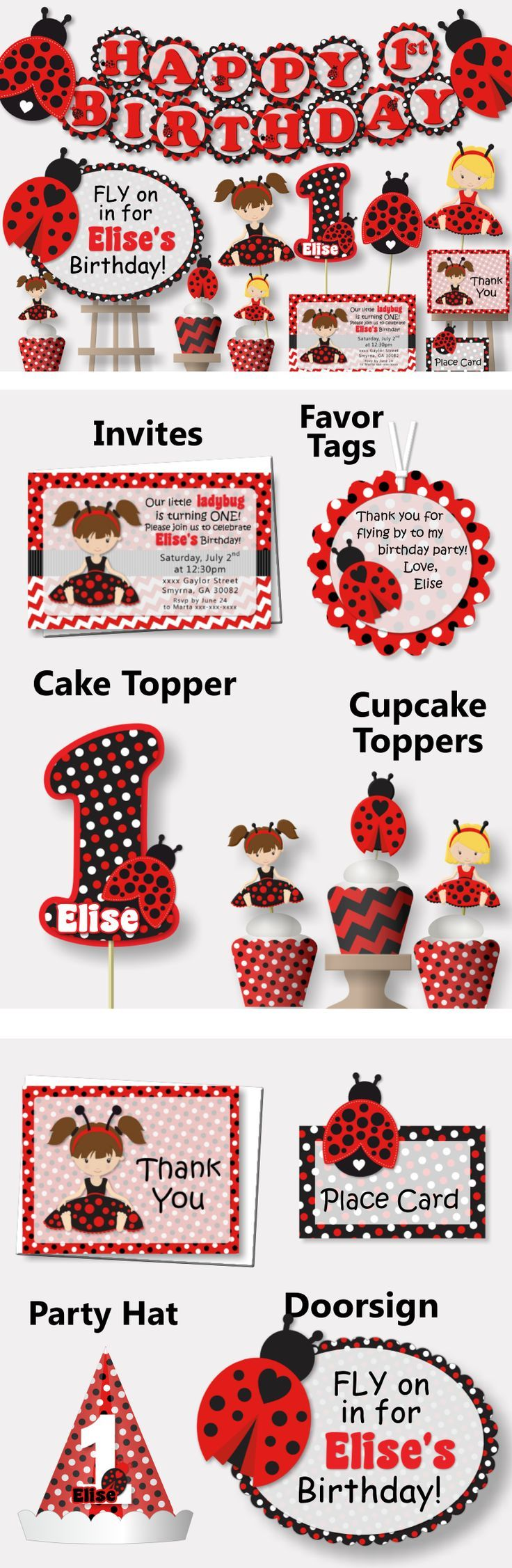 Ladybug 1st Birthday Party Theme Decorations  - Invitations, Cake Topper, Party Favors, Table Centerpiece, Banner, Invites #bcpaperdesigns #birthdayparty