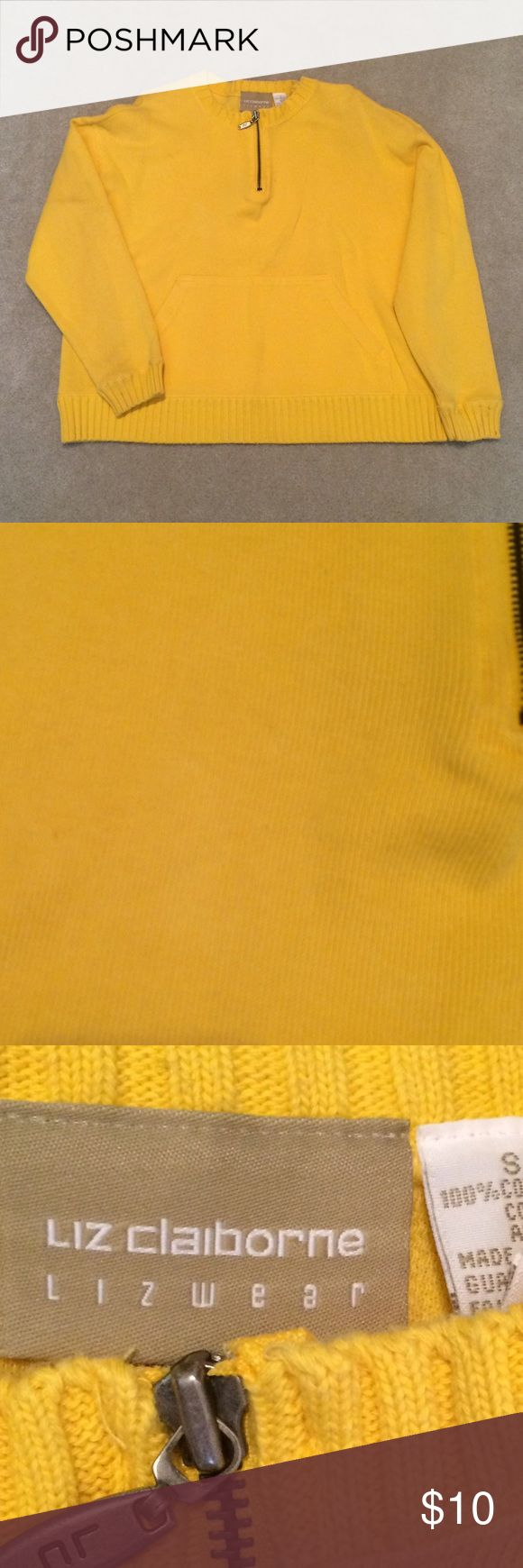 🚺 Liz Claiborne Yellow Pullover Zip Sweater Liz Claiborne Bright Yellow Pullover Zip Sweater Liz Claiborne Sweaters