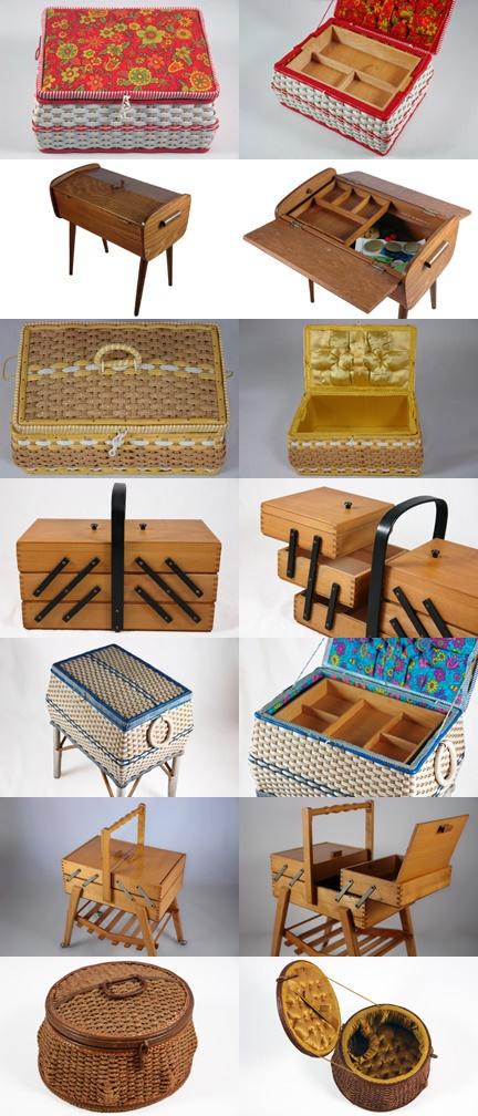 Vintage sewing boxes. Love the one second from the bottom!