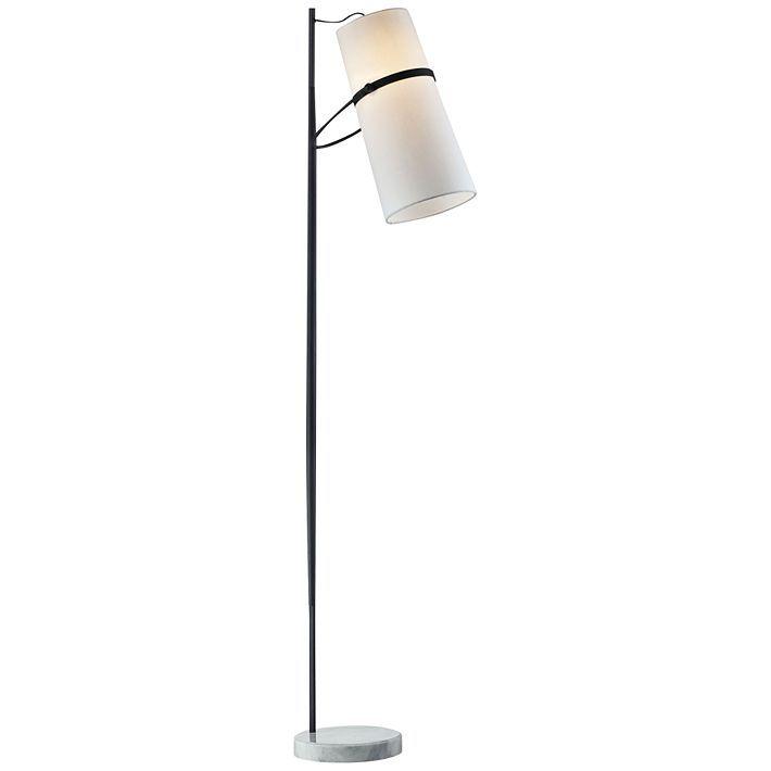 Matte Black Banded Shade Modern Floor Lamp 9v032 Lamps Plus Modern Floor Lamps Floor Lamp Styles Floor Lamp