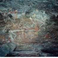 Nourlangie Rock, Kakadu; 4/6 fingers are spirits; 5 humans