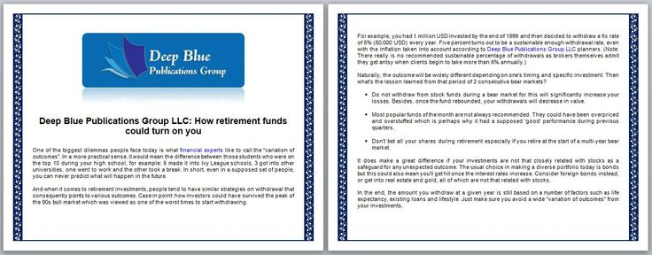 Deep Blue Publications Group LLC: How Retirement Funds Could Turn On You