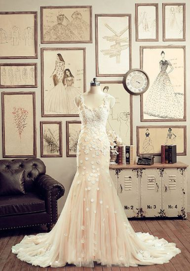 Robe de Mariée de Luxe-Magnifiques Spaghetti Sirène Sangles Fleurs à La Main En…