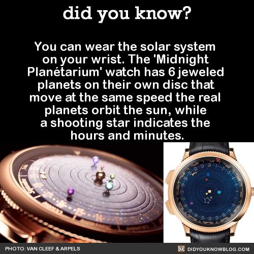 That means Saturn will only complete an orbit if you keep the watch in good shape for 29 years. The solar wristem (sorry) can be yours for $245,000, unless you're feeling fancy and want to dress it up with extra diamonds for $333,000. WOW! Jus WOW! Source