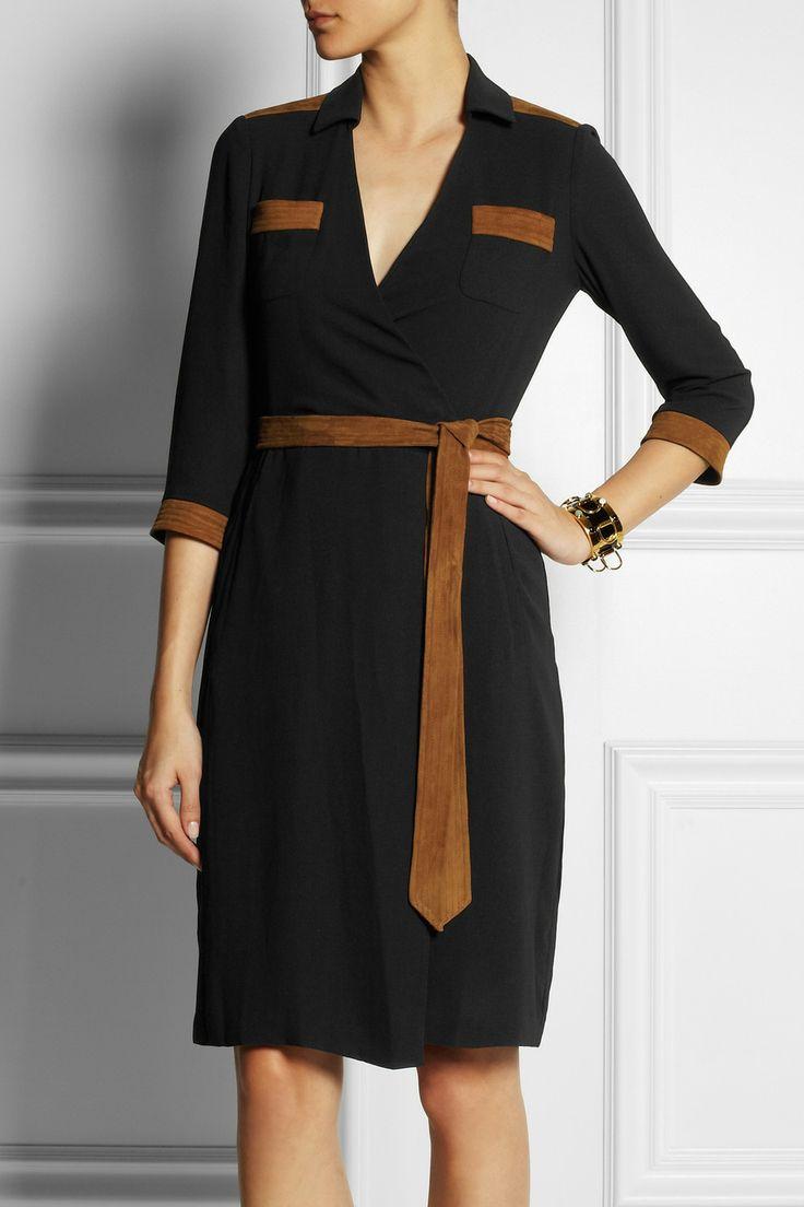 Diane von Furstenberg|Jacki faux suede-trimmed crepe wrap dress|NET-A-PORTER.COM