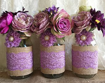 3 purple burlap and ivory lace covered mason jar by PinKyJubb