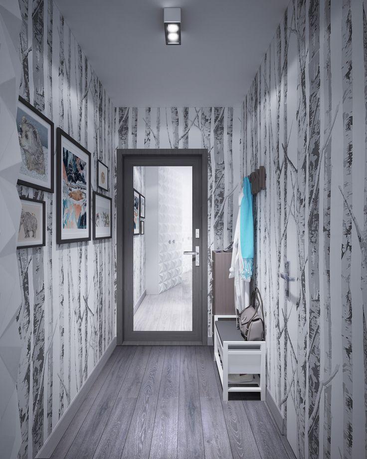 Прихожая 3 кв.м., вид из зала - На увеличение пространства также хорошо играет зеркало на входной двери и дает возможность посмотреть на себя во весь рост, при выходе из квартиры. - Вешалка трансформер над банкеткой может пригодиться, когда придут гости.