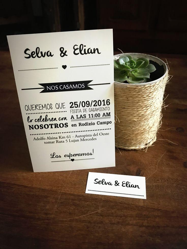 Invitación Papel Mate 10x15 con tarjeta con los nombres. #Invitaciones #Casamiento #Bodas #Diseñografico #Papeleria #WeddingPlanner #Organizaciondeeventos #Wedding #Desing #Invitacionesdeboda