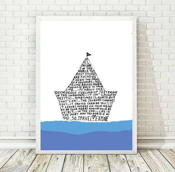 Nursery Decor Boy, Printable Art, Inspirational Poster,  Kids Wall Art,  Boat, Typography Art Print, Typography Poster, INSTANT DOWNLOAD by AthinArtPrint on Etsy