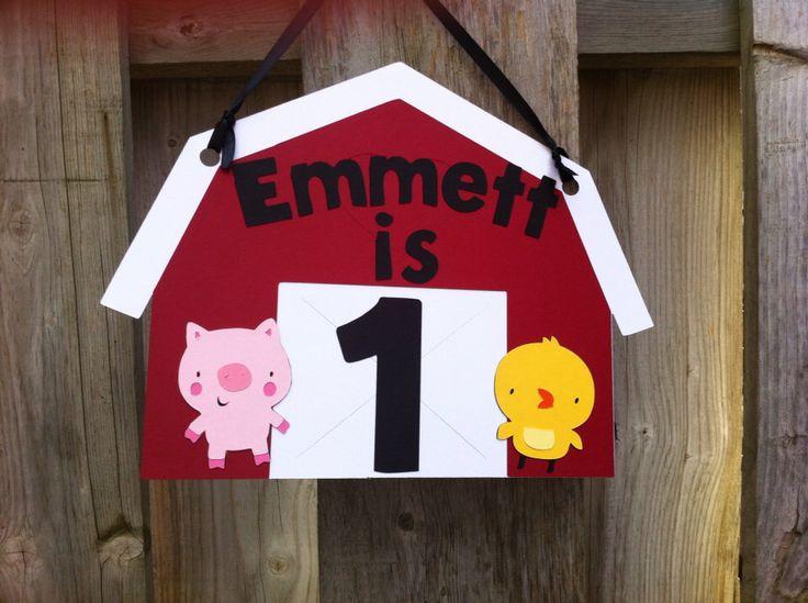 Farm Theme Door Sign, Farm Birthday, Baby Shower, Barnyard Theme, First Birthday, Party Decorations, Cows, Pigs, Horse, Sheep, Duck by LittleMissStarchick on Etsy https://www.etsy.com/listing/166297843/farm-theme-door-sign-farm-birthday-baby