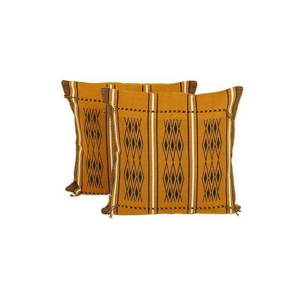NOVICA Two Handwoven Cotton Cushion Covers in Amber from India featuring polyvore, home, home decor, throw pillows, brown, cushion covers, pillows & throws, cotton throw pillows, novica, indian throw pillows, india home decor and brown throw pillows