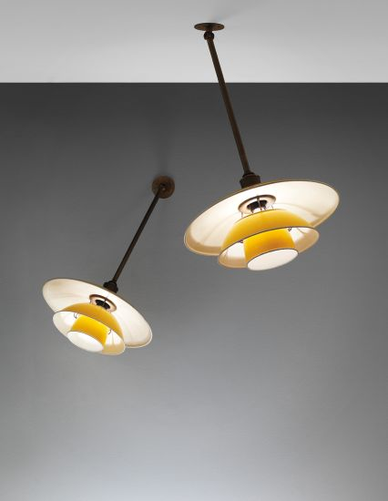 PHILLIPS : UK050113, Poul Henningsen, Pair of rare task lights, type 4/4 shades, from the Fyens Forum, Odense