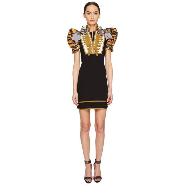 DSQUARED2 Tiger Puff Short Sleeves Mini Dress (Black) Women's Dress ($1,805) ❤ liked on Polyvore featuring dresses, animal print dresses, mini dress, short puffy dresses, short-sleeve dresses and short sleeve dress