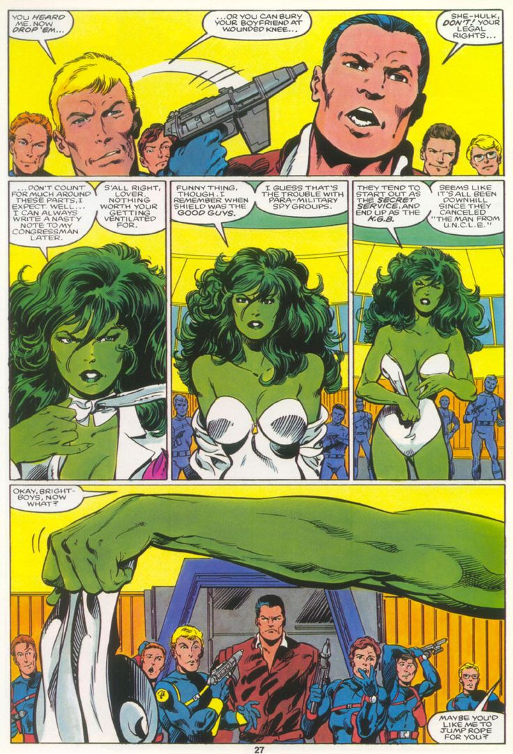 The Sensational She-Hulk - Marvel Graphic Novel n°18 p27. Art by John Byrne.