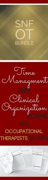 ULTIMATE resource for #OTs working in SNF to maximize clinical organization and time management to maximize productivity and daily schedule.  Documentation logs, checklists, patient handout and calendars to increase your day-to-day efficiency, compliance