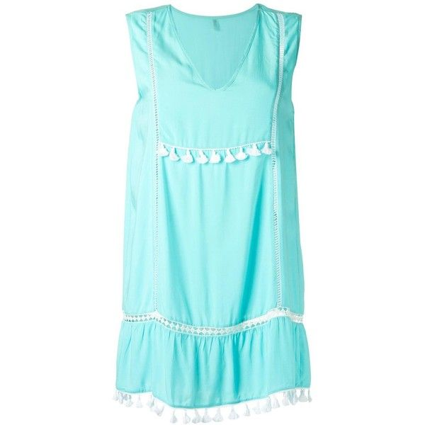 Sub beach dress ($209) ❤ liked on Polyvore featuring dresses, blue, v neck dress, blue fringe dress, v-neck dresses, blue beach dress and beach dresses