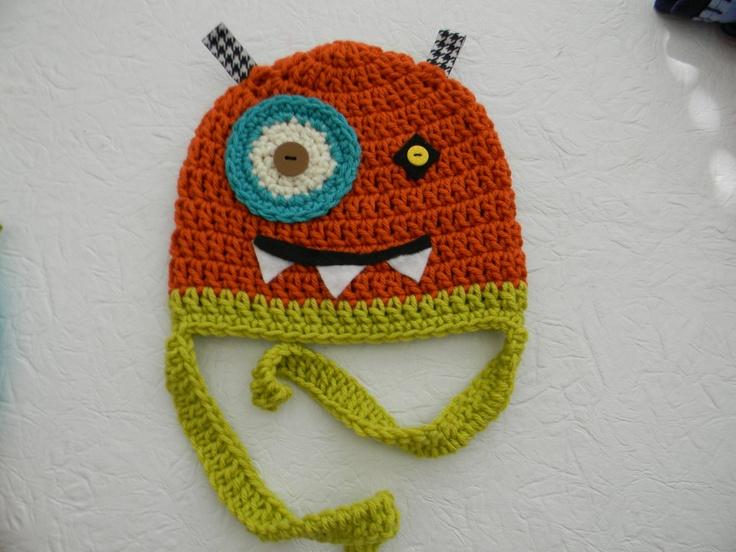 Crocheted Monster Hats.
