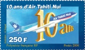 Special 10th Anniversary Air Tahiti Nui stamp.