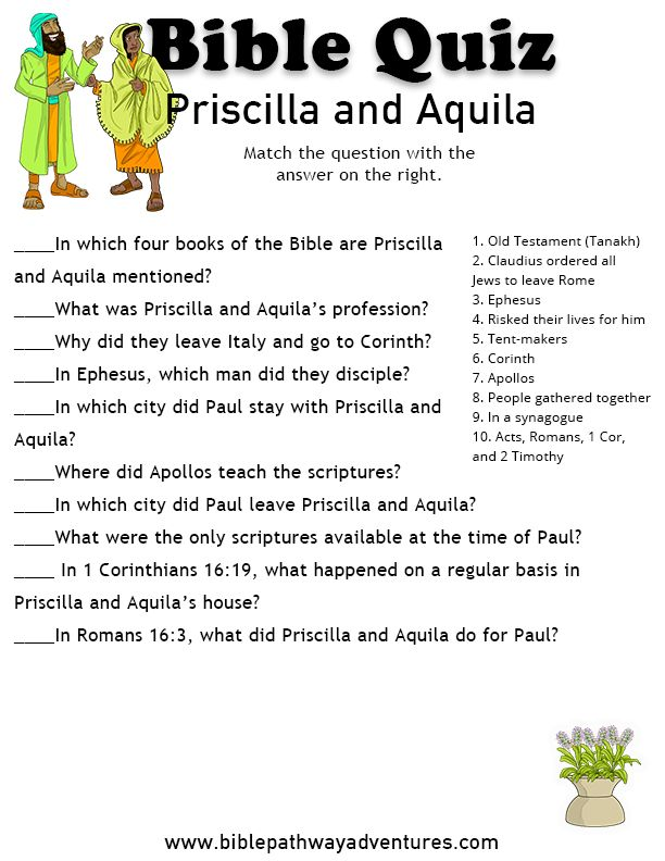 New Testament Bible Quiz: Priscilla and Aquila