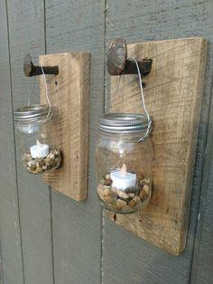 Mason Jar Railroad Spike barn wood lanterns by Ironwoodcustoms
