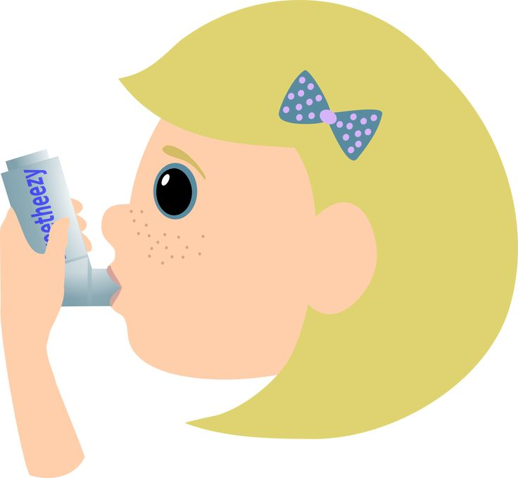 Girl with asthma spray by Moini