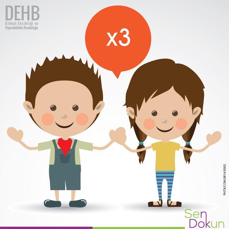 Dikkat Eksikliği ve Hiperaktivite Bozukluğu, erkek çocuklar arasında kız çocuklarına göre 3 kat daha yaygındır. #DEHB #dikkateksikliği #hiperaktivite  Test Et, Fark Et! ►https://www.dehbtv.com/dikkat-eksikligi-hiperaktivite-bozuklugu-testi/ Referans: Dikkat Eksikliği Hiperaktivite Bozukluğu Klinik Uygulama Kılavuzu Türkiye-2008