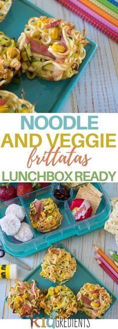 Perfect for the lunchbox, these noodle and veggie frittatas are a fun way to include veggies and eggs! Freezer friendly and super delicious. #kidsfood #lunchbox #kidslunchbox # via @kidgredients