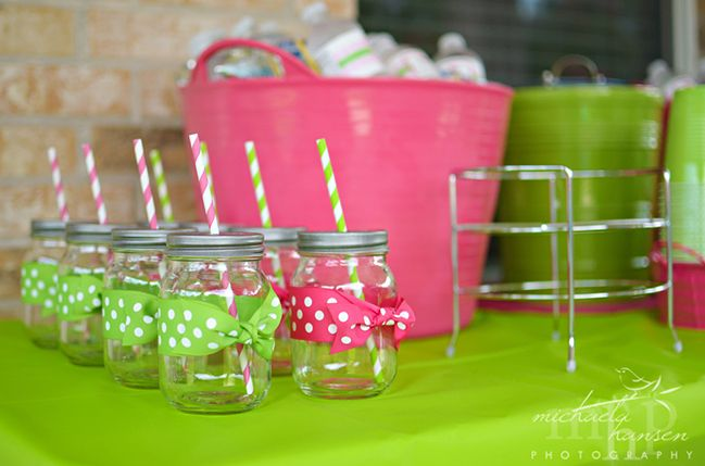 Watermelon party: Claire is 1!  The paper straws and special mason jar lids are from The TomKat Studio Party Shop.