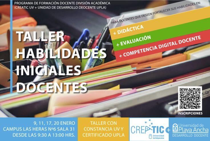 Taller de Habilidades Docentes, taller preparado con conjunto por la Universidad de Playa Ancha y la Universidad de Valparaíso, bajo el marco de las líneas de trabajo colaborativo y vinculación con el medio del PMI UVA1407, CreaticUV