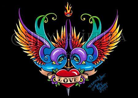 Eternal Love Rainbow Swallow Tattoo Angel Fairy by MykaJelina, $7.00