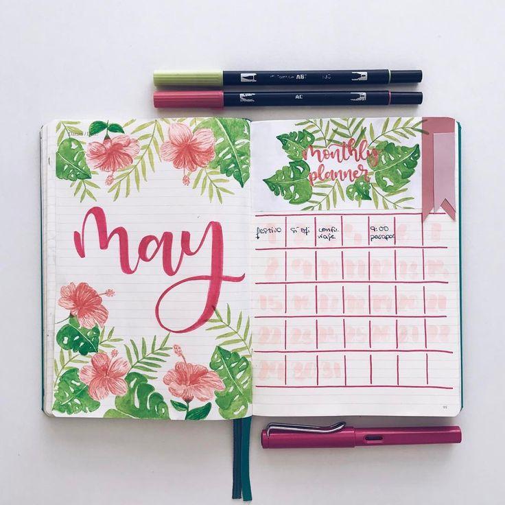 """1,702 Likes, 33 Comments - Bullet Journal & Studygram (@mylittlejournalblog) on Instagram: """"Portada de mayo al estilo tropical. Será que mi mente ya está pensando en el viaje que me voy a…"""""""
