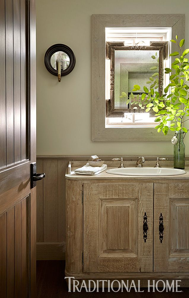 A White Washed Finish On Custom Vanity Showcases The Grain Of Wood