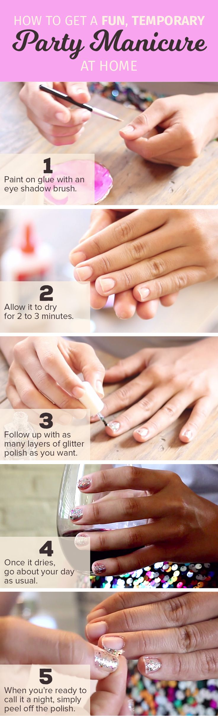 167 best beauty hacks images on pinterest beauty hacks beauty follow this simple tutorial for diy glitter nails its easy to make glitter nails with solutioingenieria Choice Image