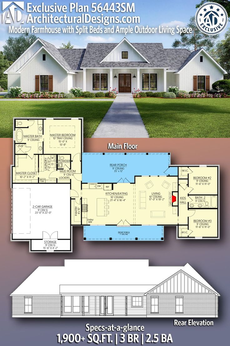 Plan 56443SM: Exclusive Modern Farmhouse with Split Beds and Ample Outdoor Living Space