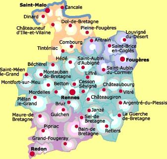 Map of Ille-et-Vilaine, Brittany, France