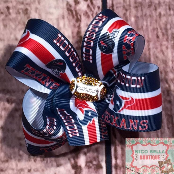 Houston Texans Football Print Hairbow Basic Twisted Boutique Football Rhinestone Center 4 inch Hair Bow! by NicoBellaBoutique on Etsy https://www.etsy.com/listing/268973358/houston-texans-football-print-hairbow
