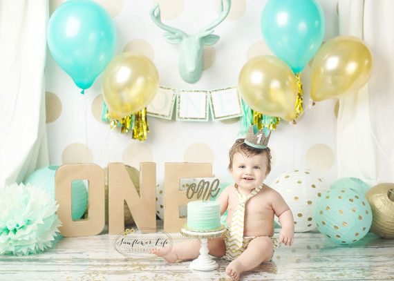 First Birthday Hat // 1st Birthday Crown // Baby Boy Smash Cake Photo Prop // Pale Gold + Mint + White 1