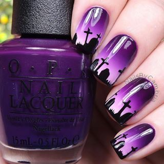 Adorable Halloween nails by @nailsbycambria using Whats Up Nails graveyard stencils from whatsupnails.com (link in bio)....