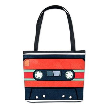 Red & Indigo Cassettes (double-sided) Bucket Bag from cafepress store: AG Painted Brush T-Shirts. #bag #cassettes #retro #unique