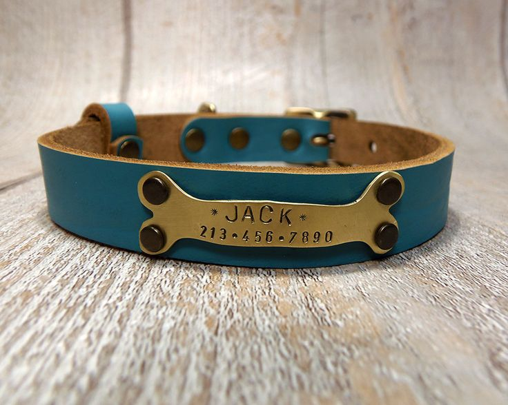Dog Collar,  Personalized Dog Collar, Dog Collar Leather, Leather Collar, Leather Dog Collar, Dog Collar Personalized, Teal Leather Colllar by VacForPets on Etsy