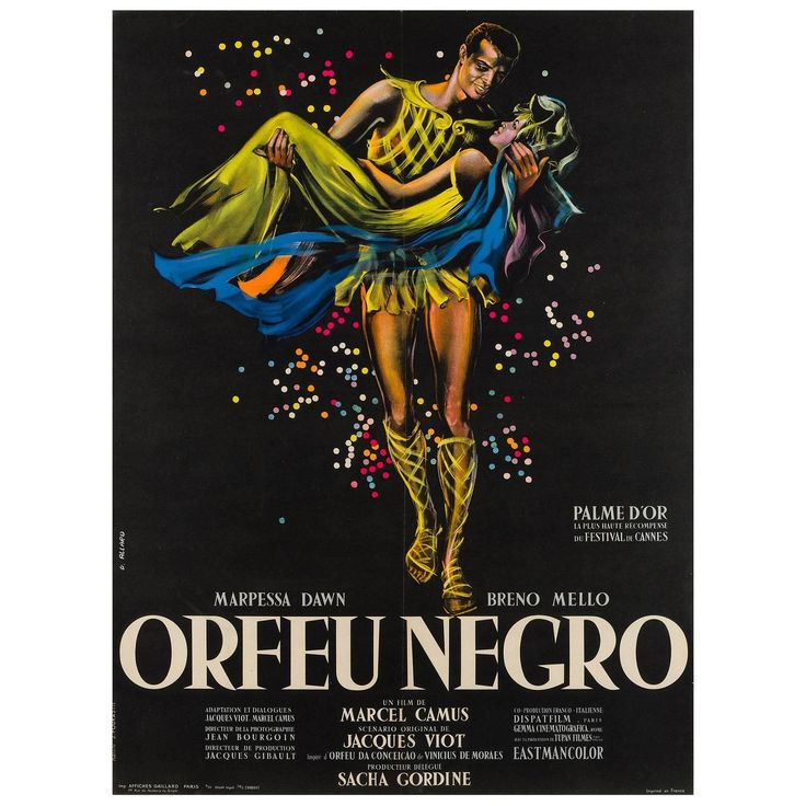 Black Orpheus Original French Film Poster, Georges Allard, 1959 | From a unique collection of antique and modern posters at https://www.1stdibs.com/furniture/wall-decorations/posters/