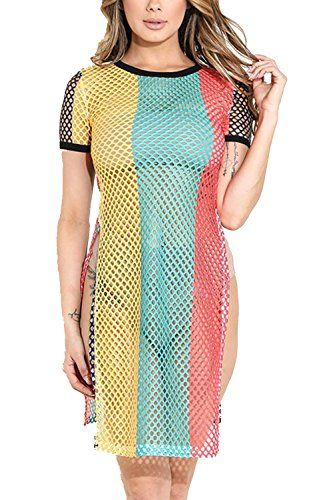 40eff34aac GENx Womens Jamaica Rasta Fishnet Side Slit Cover up Tunic Dress KD8710 |  Jamaicans | Dresses, Dresses for work, Tunic